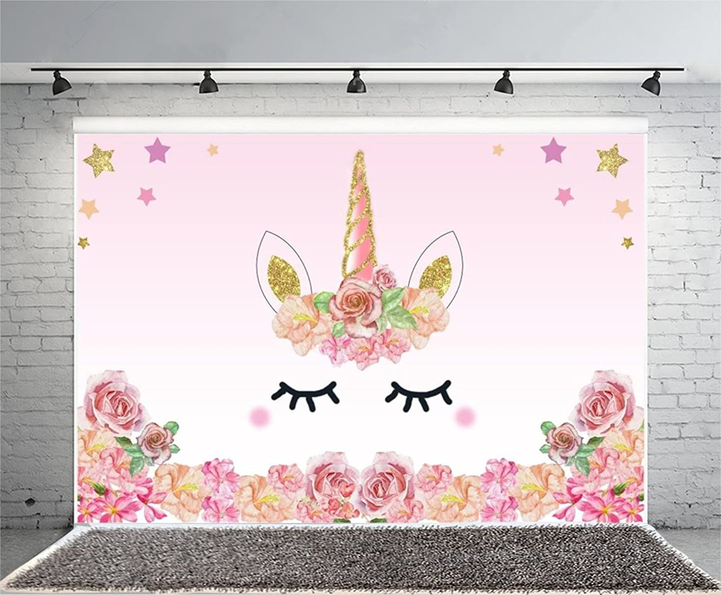Laeacco 7x5FT Vinyl Backdrop Pink Unicorn Party Photography Background Roses Flowers Edge Pattern Sweet Cute Gold Star Background Birthday Baby Shower Ifant Toddlers Girls Photo Backdrop Studio Props
