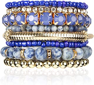 Multi Color Stretch Beaded Stackable Bracelets - Layering Bead Strand Statement Bangles