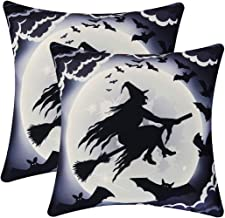 Simhomsen Set of 2 Printed Throw Pillow Case Cushion Cover 18 x 18 Inch, Scary and Spooky Halloween Decorations (Wicked Witch)