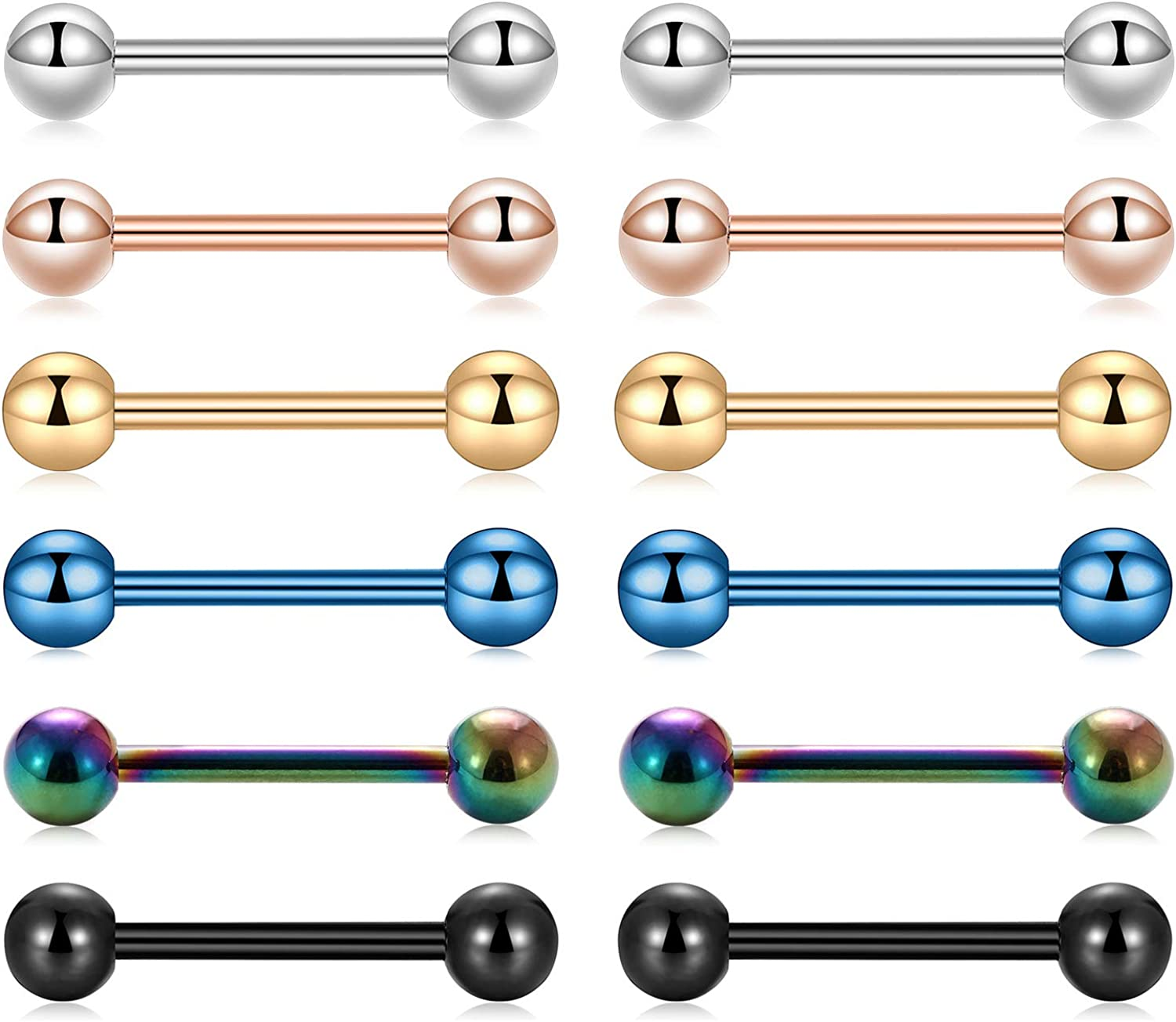 Kangyijia 14 Gauge safety Surgical Steel Rings Nipple Barbell Inventory cleanup selling sale Straight