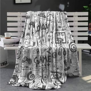 Luoiaax Video Games Plush Throw Blanket for Couch Black and White Fluffy Decorative Blanket for Couch W70 x L70 Inch