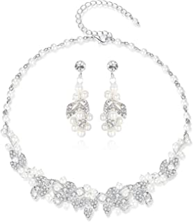 HONEY BEAR Bridal Jewellery Sets Necklace and Earrings Set for Womens Wedding, Simulated Pearl and Rhinestones,Silver