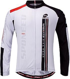 Sponeed Men's Cycling Jerseys Long Sleeve Bike Jackets Brreathable Full Zip Autumn Winter Bicycle Wear Shirts