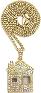 Mens ICED Out Offset Trap House Hip HOP Pendant Box, Rope Cuban Chain Necklace