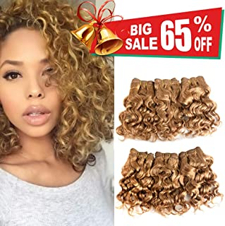 Natural Brazilian Dark Blonde Human Hair Extensions Short Curly Hair Bundles 27# Golden Virgin Human Hair Bundles Deep Curly Weave
