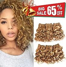 Natural Brazilian Dark Blonde Human Hair Extensions Short Curly Hair Bundles 27# Golden Virgin Human Hair Bundles Deep Curly Weave