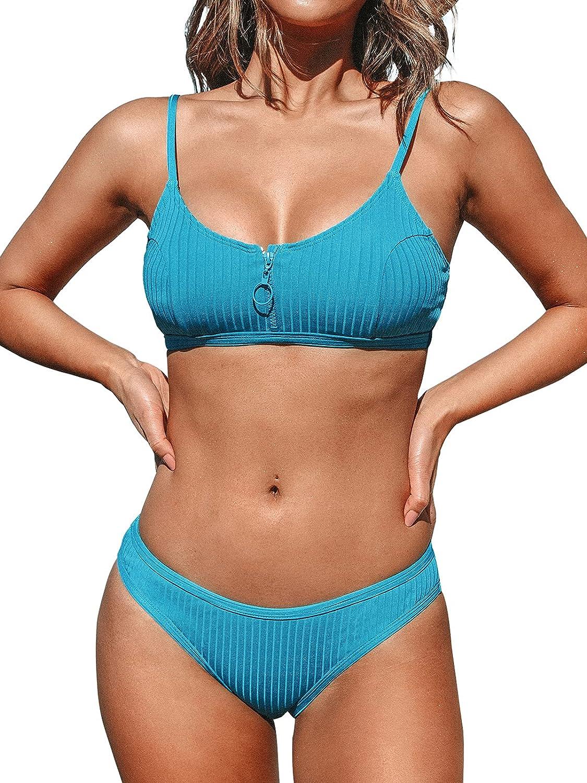 CUPSHE Women's Bikini Swimsuit Zipper Low Waist Adjustable Straps Two Piece Bathing Suit