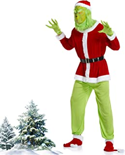 Grinch Costume for Men 7pcs Christmas Deluxe Adult Santa Suit Green Outfit with Mask