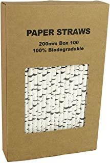 100 Pack Birch Bark Biodegradable Paper Straw for Birthdays, Weddings, Baby Showers,Thanksgiving Christmas Celebrations and Parties