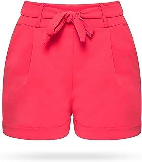 Kendindza Women's Summer Shorts with Bow, Bermudas, Plain Colours