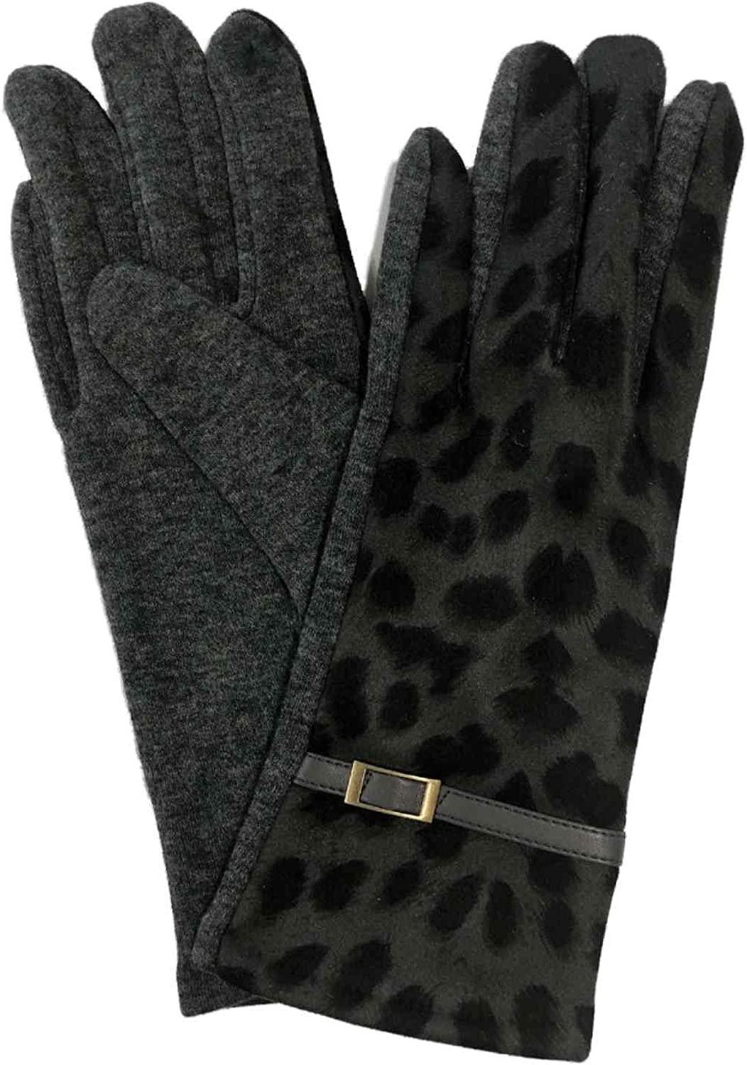 Womens Gray & Black Leopard Print Stretch Fit Texting & Tech Touchscreen Gloves