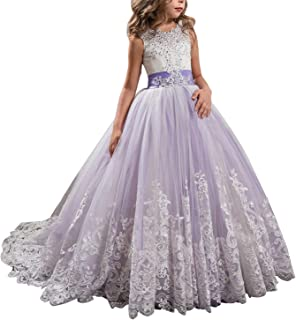 KSDN Wedding Flower Girls Dress Lace Tulle Dance Pageant Gown with Bow