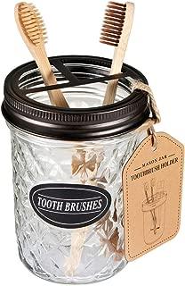 Amolliar Mason Jar Toothbrush Holder,Bronze