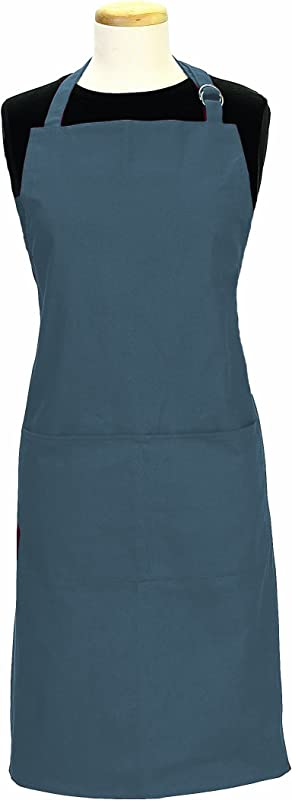 Ritz Royale 100 Cotton Twill Two Pocket Bib Apron With Adjustable Neck And Waist Federal Blue