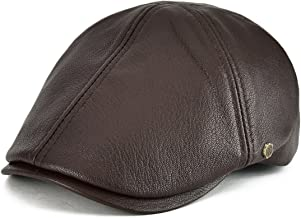 VOBOOM Lambskin Leather Ivy Caps Classic Ivy Hat Cap 6 Pannel Cabbie Beret hat