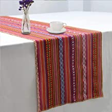 GFCC Set of 10 Mexican Serape Tablerunner Mexican Blanket Table Runners Mexican Themed Party Supplies - 14