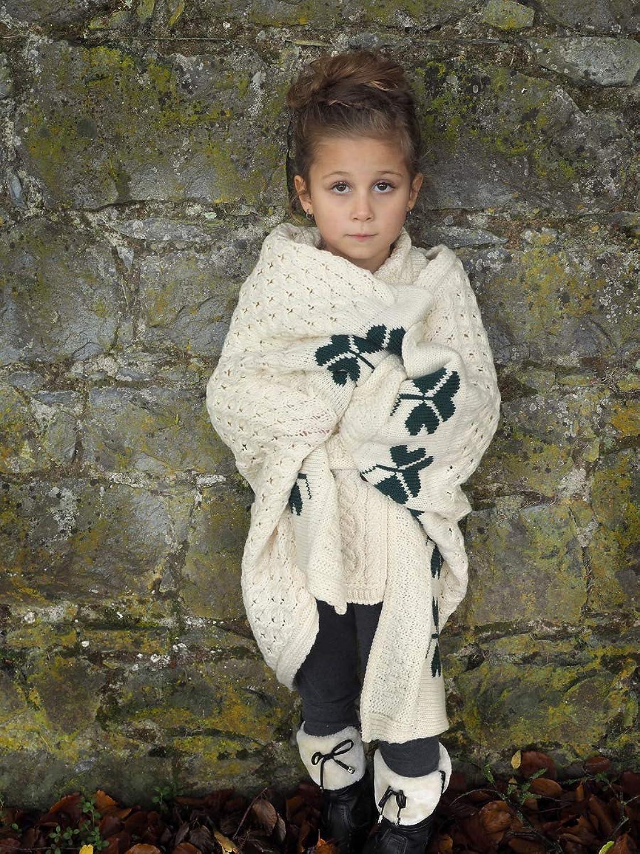 100% Irish Merino Wool Baby Blanket with Shamrock Design 30x36 Inches by West End Knitwear