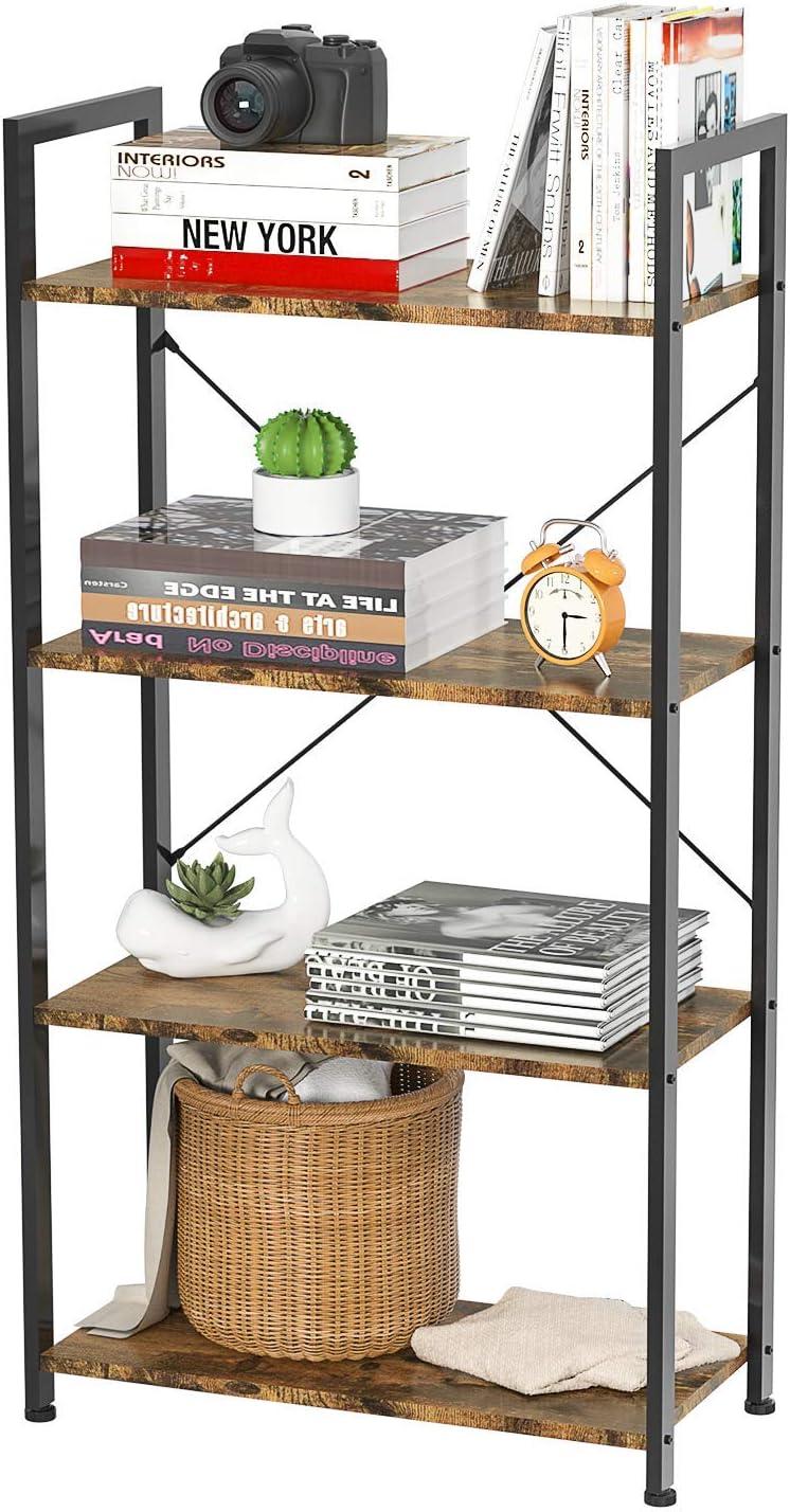 Foxemart 登場大人気アイテム Bookshelf 4 Tier Shelf 売り出し Modern Standing Bookcase Rack