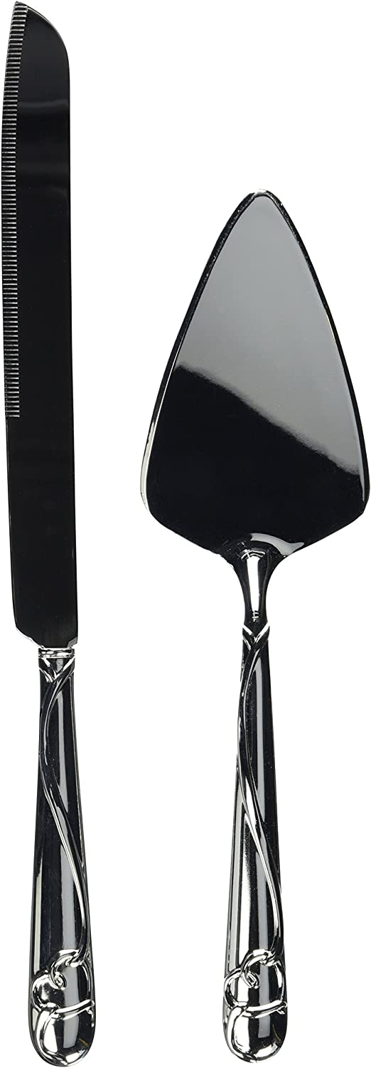 Weddingstar New Orleans Mall Cake Superior Knife and Serving Set Plated with Silver - Rais