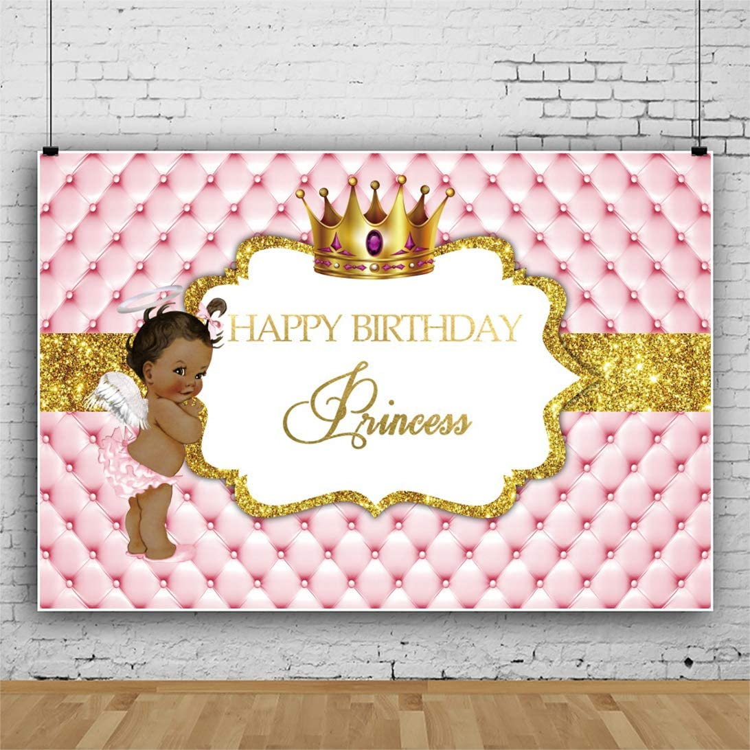 DORCEV 10x6.5ft Princess Happy Birthday Backdrop Angle Baby Girls Birthday Party Background Cute Heaven Baby Angle Luxury Princess Crown Princess Theme Party Banner Girls Photo Studio Props
