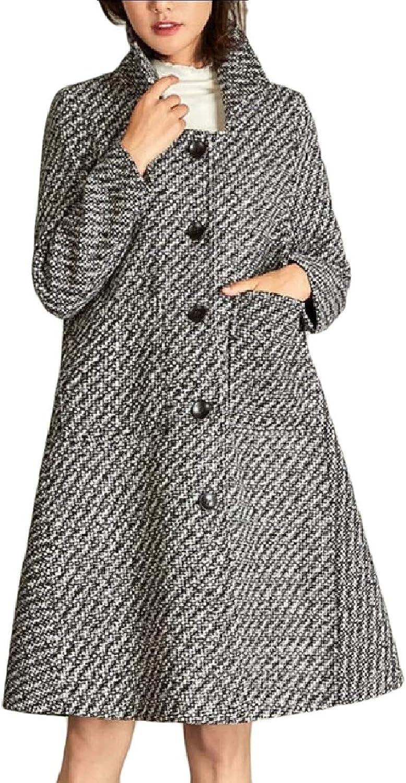 Baseby Women's Skinny WoolBlend Swing Premium Trench Pea Coat Outwear