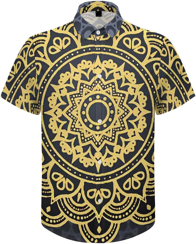 Mens Button Down Shirt Golden Mandala Casual Summer Beach Shirts Tops