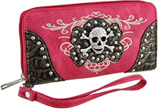 Zzfab Embroidered Concealed Carry Rhinestone Studded Skull Purse