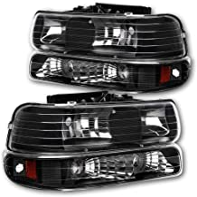 JSBOYAT Headlight Assembly Replacement for 99-02 Chevy Silverado 1500 2500, 01-02 Chevy Silverado 1500HD 2500HD 3500HD, 00-06 Chevy Tahoe Suburban 1500 2500 Headlamps with Bumper Lights (Black)