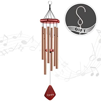 Famiry Wind Chimes Outdoor Deep Tone, 32 Inch Wind Chimes Outdoor Sympathy, Memorial Wind Chimes with 6 Metal Tubes & Hook, Outdoor Decor for Garden, Patio, Yard, Home