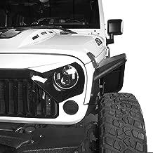 Hooke Road Jeep Wrangler Tubular Front & Rear Fender Flares Kit, Textured Black Solid Wheel Fenders, 2007-2018 Wrangler JK