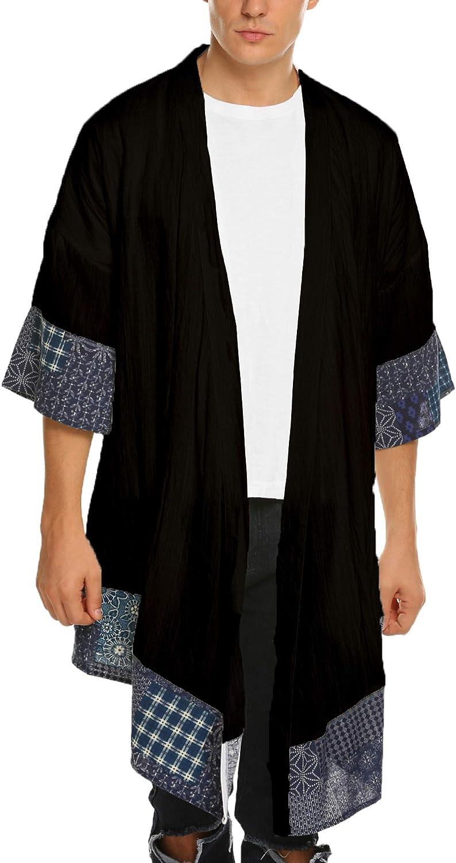 JINIDU Men's Kimono Cardigan Cotton Linen Shawl Collar Poncho Cloak Open Front Cape