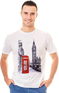 Classic London Big Ben Red Phone Box Booth Graphic Printed T-Shirt Tee