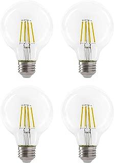 LED 4.5W G25 Clear Globe Filament Light Bulb, 40W Equivalent, 470 Lumens, 2700K Soft White, E26 Medium Base, Dimmable, 120V, Energy Star, (4 Pack)