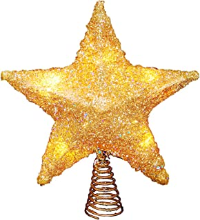 LAWOHO Christmas Tree Topper Star Ornaments Glittering Gold Glitter Metal Festival Gift Display Lighted Clear Decor Star of Bethlehem - 10 Inches Fit for General Size Christmas Tree