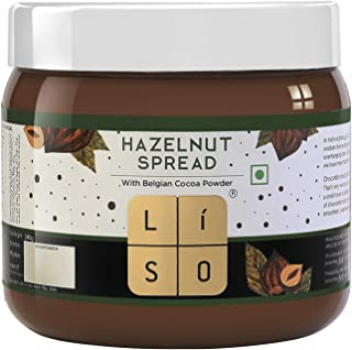 LISO Hazelnut Spread | Made with Goodness of Hazelnuts and Belgian Cocoa Powder | 100% Vegetarian with No Palm Oil, 280 gm