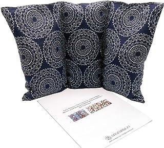 """Cuscino termico noccioli ciliegia """"Mandalas blue"""" - 26 x 16 cm (M / L) - pieno di noccioli di ciliegia 330gr - effetto fre..."""