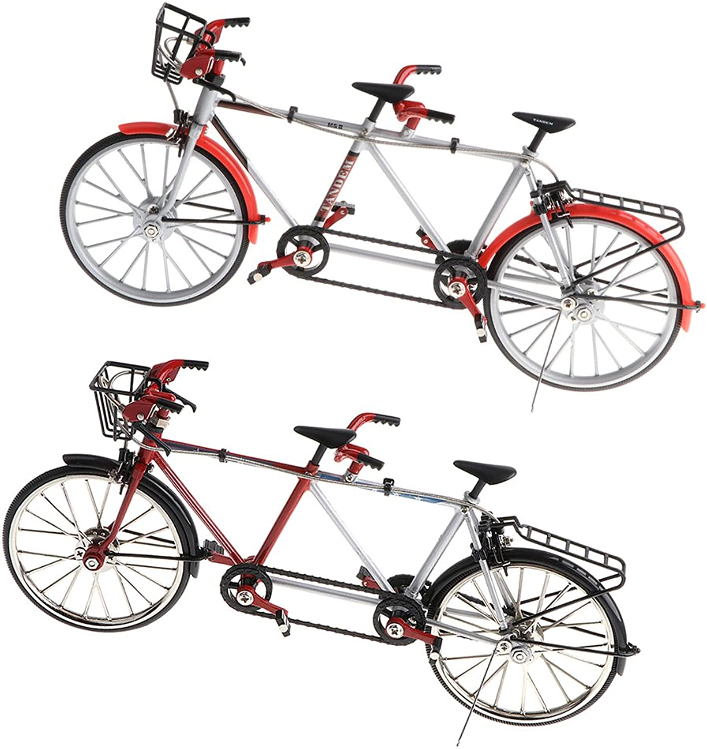 Baoblaze 2pcs 1 10 Scale Alloy Diecast Racing Racing Racing Tandem Bike Showcase Model Bicycle Toy Desk Crafts Collectibles ef6335