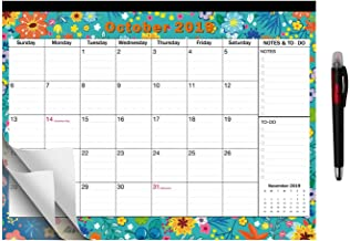 2019-2020 Large Monthly Desk Pad Calendar Planner Academic, Floral Design with Magnets for Fridge, Large October 2019 to December 2020 Wall Calendar 17.3