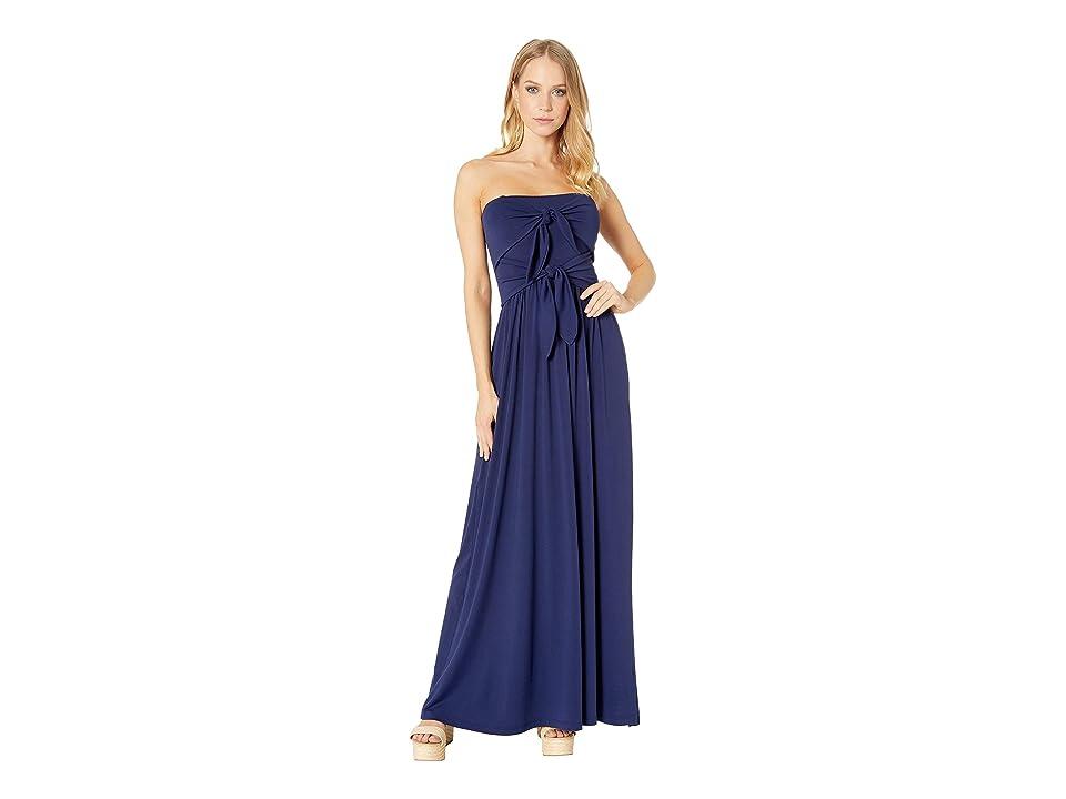 Susana Monaco Tie Front Strapless Dress (Deep Sea) Women