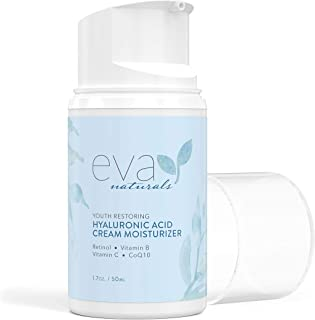 Hyaluronic Acid Moisturizing Cream by Eva Naturals - Best Wrinkle Cream - Facial Moisturizer, Dry Skin Cream, Retinol, Vit...
