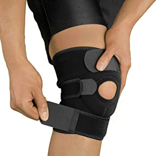 Knee Support Open Patella Stabilizer with Adjustable Strapping & Extra Thick Breathable Neoprene Sleeve Single Pack