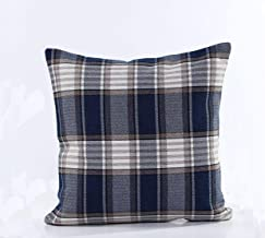 EKE Throw Pillow Covers,Handmade Cushion Cover,Decorative Retro Plaids Soft Cotton Checkered Weaving Linen Pillowcase for Sofa/Car/Couch(Stripe Blue, Single Piece,18''x18'', 45cm x 45cm)