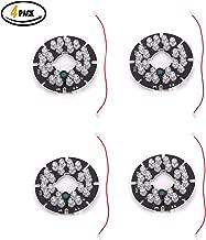 Qisheng 24 LED 850nm IR Infrared Illuminator Board 90 Degree Round Plate IR Illuminator Board Bulb for CCTV Security Camera(4Packs)