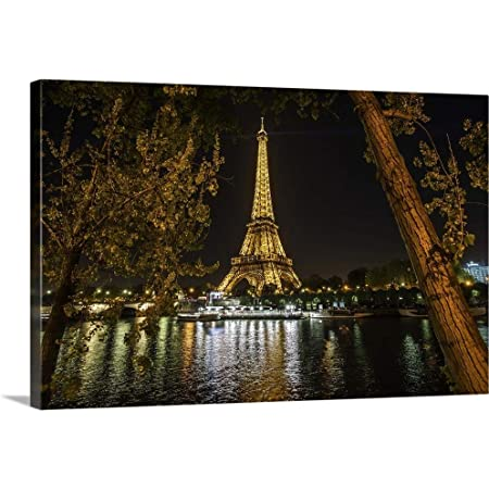 Amazon Com The Eiffel Tower And Seine River At Canvas Wall Art Print Eiffel Tower Artwork Posters Prints