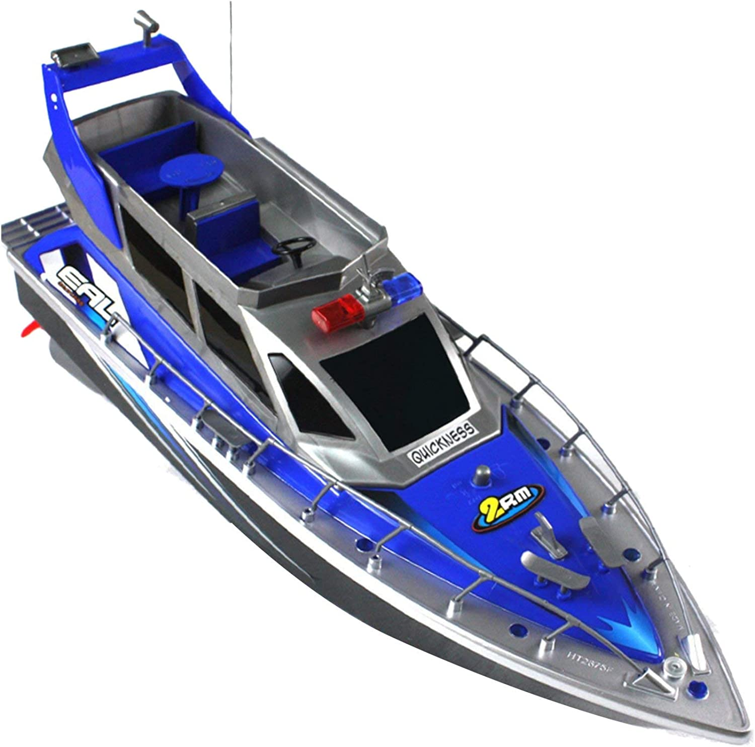 TOOGOO Police Remote Control Boat 1 20 Police Speed Boat Rc Boat Electric Full Function Large 4Channel Patrol Boat Remote Control Boat and Rechargeable Battery Set bluee