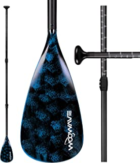 WOOWAVE SUP Paddle Adjustable 3 Piece Stand-Up Paddles Floating Portable Paddle Board Accessories (Aluminum Alloy, Fibergl...