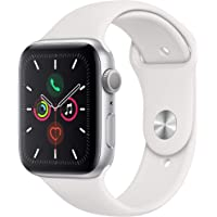Apple Watch Series 5 44mm GPS Smartwatch (Silver Aluminum Case with White Sport Band) (Latest Model, Late 2019)