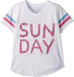 chaser kids vintage jersey cold shoulder flutter top little kids big  super soft vintage jersey sunday tee (little kids big kids)