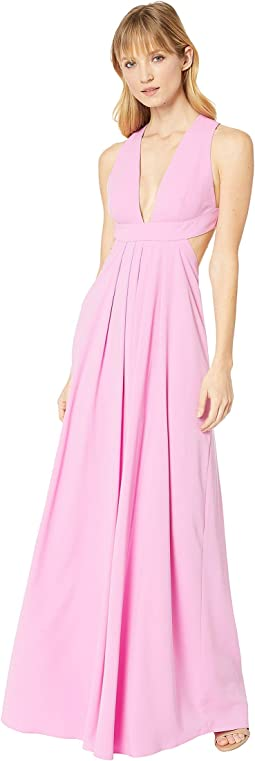 Deep V-Side Cut Out 2-Ply Crepe Gown