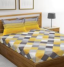 IVAZA Comfort Rajasthani Jaipuri Traditional Sanganeri Print 144 TC 100% Cotton Double Bedsheet with 2 Pillow Covers(Yellow Grey)